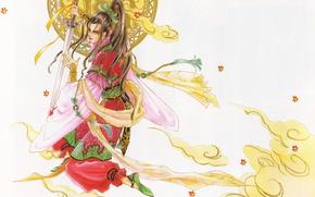 Картинка листья, меч, шарф, воин, костюм, парень, диск, манга, длинные волосы, art, азиат, Mamiya Oki