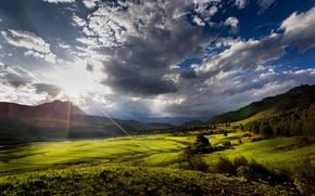 Картинка солнце, облака, горы, долина, солнечные лучи, Южная Африка, провинция Квазулу-Натал, Kwa-Zulu Natal