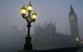 Картинка мост, туман, лондон, тауэр