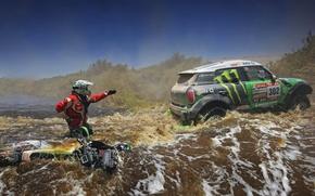 Картинка зеленый, Вода, Река, Мотоцикл, Гонщик, Mini Cooper, Rally, Dakar, MINI, Мини Купер, X-raid, Течение