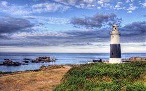 Картинка море, небо, облака, побережье, маяк, остров, Англия, sky, ocean, coast, lighthouse, Alderney