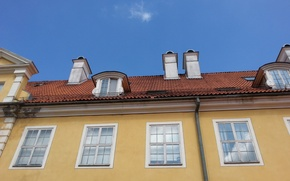 Картинка небо, город, окна, old, old town, рига, riga, старая рига