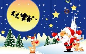 Обои рождество, елка, новый год, снег, олень