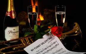 Картинка ноты, роза, бутылка, труба, шампанское, День Святого Валентина, фужеры