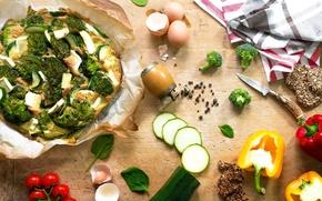 Картинка яйца, перец, овощи, пицца, помидоры, специи, брокколи, черри, ассорти, готовка, кабачок, базилик, вегетарианская