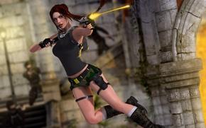 Картинка девушка, рендеринг, прыжок, пистолеты, выстрел, Tomb Raider, руины, Lara Croft