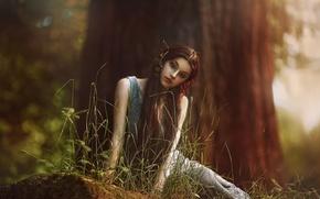 Картинка лес, девушка, фантазия, арт, Elf, Agnieszka Lorek