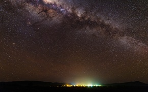 Картинка звезды, ночь, горизонт, млечный путь