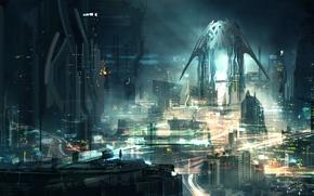 Картинка свет, ночь, город, огни, фантастика, дома, небоскребы, art