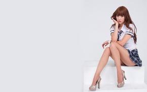 Картинка sexy, legs, woman, model, asian, skirt, heels