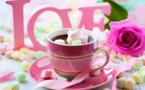 Картинка любовь, цветы, розы, лента, чашка, love, rose, hot, flower, cup, chocolate, горячий шоколад, ribbon