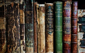 Картинка старые, полка, Книги, потрепанные