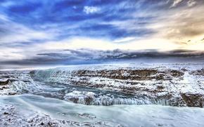 Обои лед, зима, HDR, Река