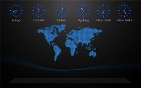 Картинка время, карта, черный фон, текстуры, разных городов