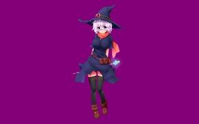 Картинка девушка, камень, минимализм, чулки, шляпа, аниме, очки, посох, волшебница, белые волосы, короткие волосы, фиолетовый фон, …
