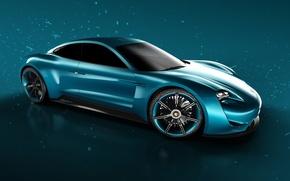 Картинка car, blue, rendering, Porsche Mission E