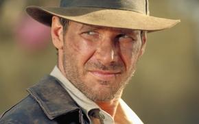 Картинка Харрисон Форд, шляпа, взгляд, лицо, Индиана Джонс и Храм Судьбы, Indiana Jones and the Temple …