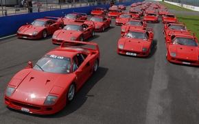 Картинка Красный, Авто, Машина, Феррари, Машины, Ferrari, F40, Трасса, Много, Суперкар, Трек, Supercar, Ferrari F40, F ...
