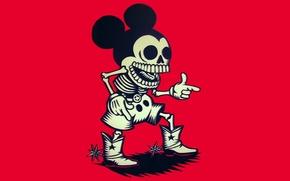 Обои ковбой, скелет, Микки Маус