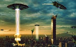 Обои город, взрывы, корабли, вторжение