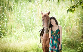 Картинка зелень, лето, взгляд, фон, конь, платье, азиатка