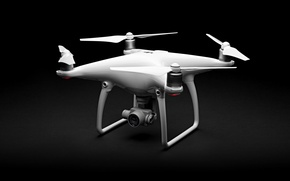 Картинка Phantom, white, lenses, drone, high tech, quadcopter, DJI Phantom 4, films in 4k