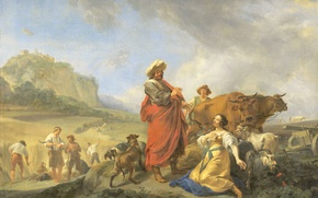 Картинка картина, мифология, Николас Питерс Берхем, Руфь и Боаз