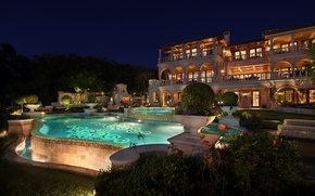 Картинка ночь, бассейн, отель, курорт, garden, pools, exterior, mansions
