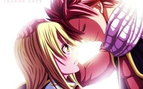 Обои девушка, аниме, шарф, слезы, арт, парень, fairy tail, сказка о хвосте феи, lucy heartfilia, natsu ...