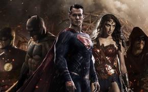 Картинка бэтмен, стрела, Batman, супермен, Superman, лига справедливости, Batman v Superman: Dawn of Justice, флэш, чудо …