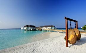 Картинка пляж, океан, курорт, белый песок, resort, fantastic Maldives, Mirihi island