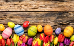 Картинка цветы, eggs, spring, Happy, flowers, tulips, тюльпаны, Пасха, яйца, Easter, wood, colorful, decoration, весна