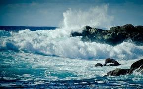Обои волна, монтерей, сша, monterey, берег, пена, брызги, море, волны, вода, океан, скалы, капли, калифорния, california, ...