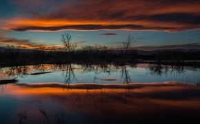 Картинка небо, вода, отражения, деревья, тучи, природа, озеро, вечер