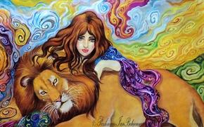 Картинка глаза, взгляд, девушка, абстракция, лицо, фон, животное, волосы, рука, хищник, лев, арт, грива, живопись