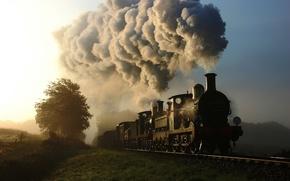 Картинка природа, дым, поезд, паровоз, вагоны, железная дорога