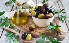 Обои оливки, olive oil, салфетка, листики, доска, миска, plate, leaves, olives, tissue paper, Board, оливковое масло