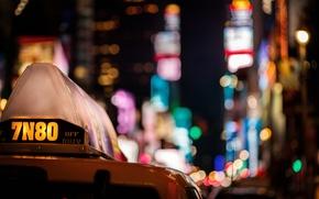 Картинка машина, ночь, город, огни, небоскребы, такси, разноцветные, боке