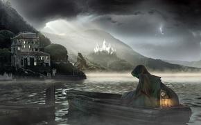 Обои туман, море, лодка, смерть
