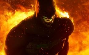 Картинка улыбка, огонь, batman, маска, joker, fan art