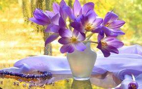 Картинка autumn, view, harmony, window, vase, bouquet, beautiful flowers