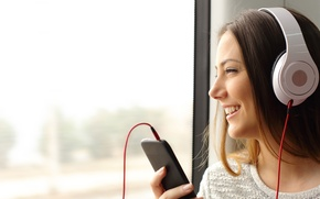 Картинка woman, headphones, phone, listening to music