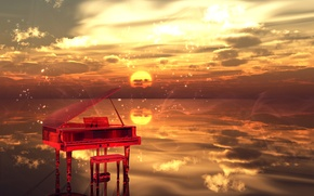Картинка вода, облака, Закат, искры, музыкальный инструмент