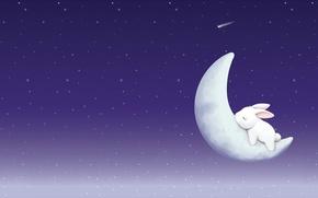 Картинка ночь, сон, звёзды, месяц, арт, зайчик, детская