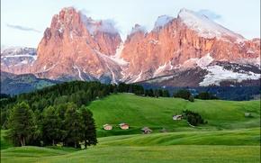 Картинка лес, лето, горы, дома, Enrosadira Italia