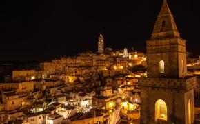 Обои Matera, Италия, вид сверху, дома, огни, ночь, небо, звезды