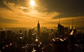 Картинка солнце, Нью-Йорк, небоскребы, сепия