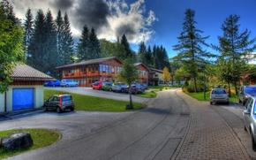 Картинка небо, деревья, город, фото, улица, HDR, дома, Германия, Berchtesgaden