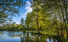 Картинка деревья, озеро, парк, Хорватия, лавочки, Zagreb, Bobovica