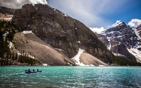 Картинка пейзаж, горы, природа, озеро, парк, лодка, Канада, Yoho